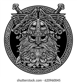 Norse God Odin with wolf and swords. Graphic illustration in the ring. Celtic ornament. Viking Warrior