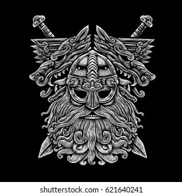 Norse God Odin with wolfs and swords. Viking Warrior engraving style illustration on the black background t-shirt design logo symbol