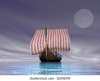 A Norse viking ship sailing at sea