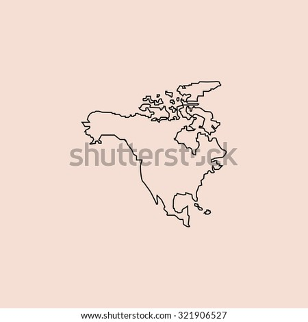 North America Map Template.North America Map Outline Icon Simple Stock Illustration Royalty