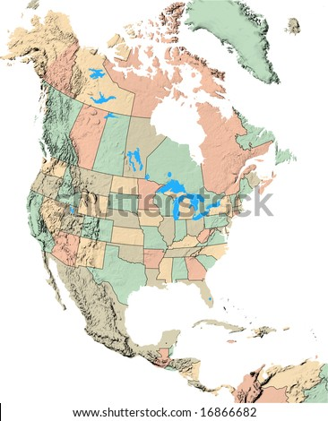 north america map showing us states stock illustration 16866682