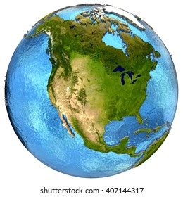 North America on detailed model of planet Earth with continents lifted above blue ocean waters. 3D Illustration. Elements of this image furnished by NASA.