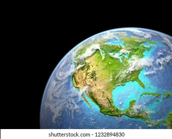 North America on Earth from space. Very fine detail of planet surface, realistic clouds and visible ocean floor. 3D illustration. Elements of this image furnished by NASA.