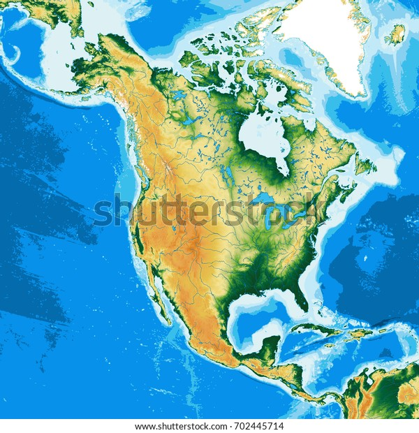 North America Physical Map Elements This Stock Illustration ...