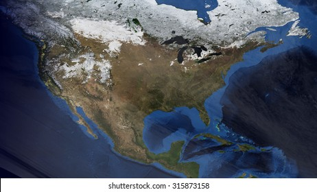 North American Map Space View (Elements of this image furnished by NASA)