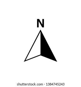 North arrow icon or N direction and navigation point symbol. illustration logo for GPS navigator map isolated on white background
