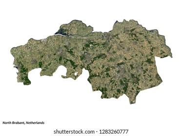 North Brabant, Netherlands Map (3D illustration)