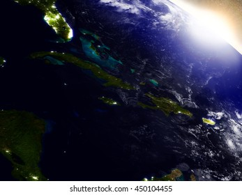 North Caribbean region from Earth's orbit in space during sunrise. 3D illustration with highly detailed realistic planet surface. Elements of this image furnished by NASA.