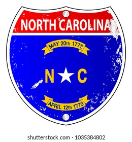 North Carolia flag icons as an interstate sign over a white background