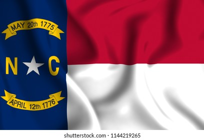 North Carolina 3D waving flag illustration. Texture can be used as background.