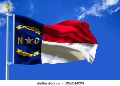 North Carolina flag USA flag Silk waving flag of North Carolina US state on blue sky with white clouds background 3d illustration