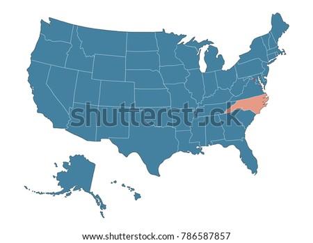 North Carolina State Map USA Stock Illustration - Royalty Free Stock ...