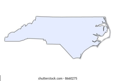 North Carolina (USA) light blue map with shadow. High resolution. Mercator projection.