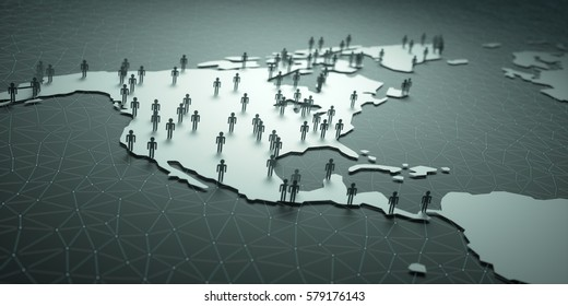 North and Central America. 3D illustration of people on the map, representing the country's demography.