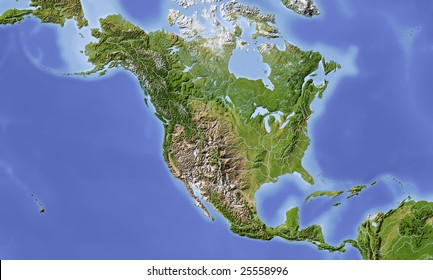 North and Central America. Shaded relief map, with major urban areas. Colored according to vegetation. Includes a clip path for the land area.