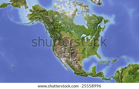 North Central America Shaded Relief Map Stock Illustration 25558996 ...