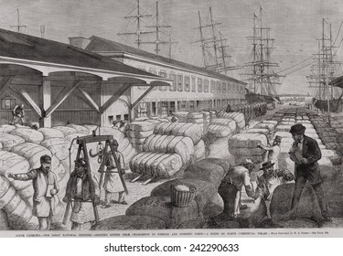 North Commercial wharf of Charleston, S.C. with cotton bales for shipping to foreign and domestic ports via sailing ships. 1878.