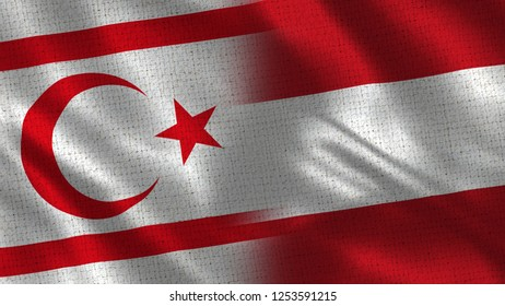 North Cyprus and Austria - 3D illustration Two Flag Together - Fabric Texture