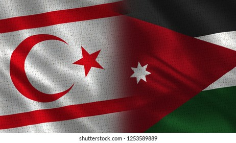 North Cyprus and Jordan - 3D illustration Two Flag Together - Fabric Texture