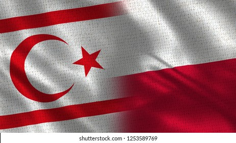 North Cyprus and Poland - 3D illustration Two Flag Together - Fabric Texture