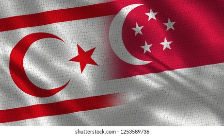 North Cyprus and Singapore - 3D illustration Two Flag Together - Fabric Texture