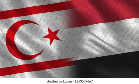 North Cyprus and Yemen - 3D illustration Two Flag Together - Fabric Texture