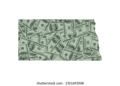 North Dakota State Map and Money Concept, Hundred Dollar Bills
