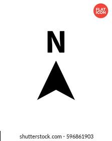 North Icon Flat Isolated Illustration