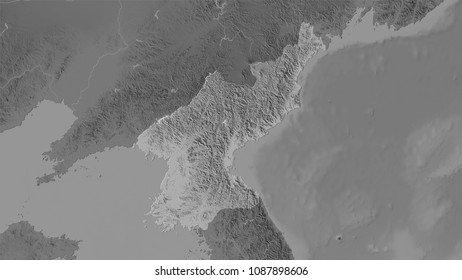 North Korea area on the grayscale elevation map in the stereographic projection - raw composition of raster layers