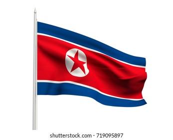 North Korea flag floating in the wind with a White sky background. 3D illustration.