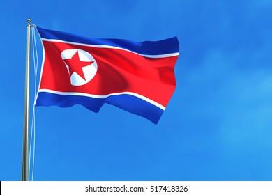 North Korea flag on the blue sky background. 3D illustration