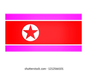 North Korea flag on a white background.3d illustration