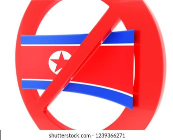 North Korea flag and prohibition sign.3d illustration