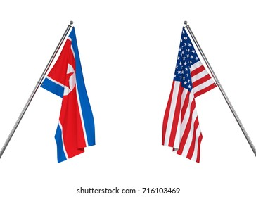 North Korea flag and USA flag on white background with clipping path. 3D illustration
