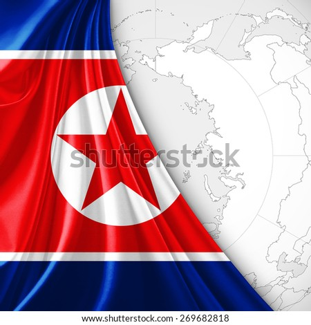 North Korea Flag World Map Background Stock Illustration - Royalty ...