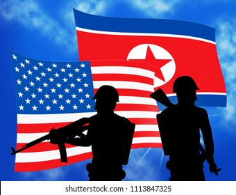 North Korea Military And Flag 3d Illustration. Korean Infantry Mission Or Battle Force Combat For Conflict By NK