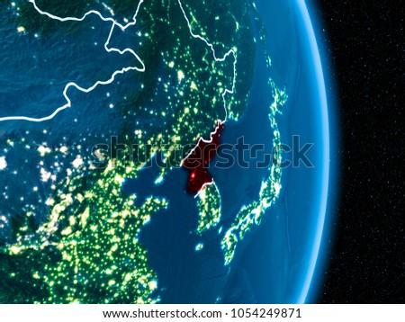 North Korea Orbit Planet Earth Night Stock Illustration Royalty