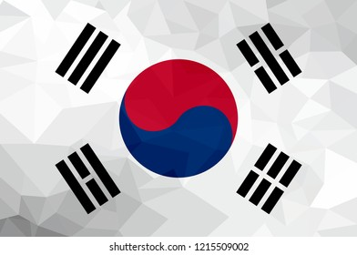 North Korea polygonal flag. Mosaic  modern background. Geometric design