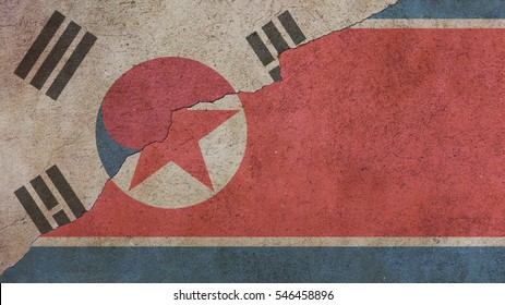 North Korea and South Korea Flags on Cracked Concrete