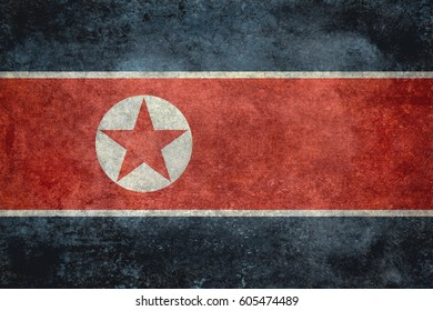 North Korean flag with grungy distressed textures