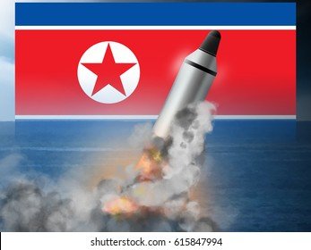 North Korean ICBM underwater submarine missile launch.  Original illustration.