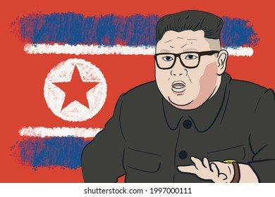 North Korean leader and dictator Kim Jong-un is illustrated.