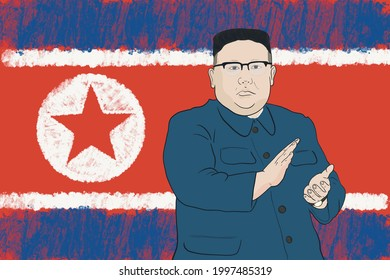 North Korean leader and dictator Kim Jong-un applauds with an expressionless face.