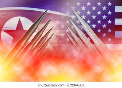 North Korean lunch ICBM missile test attack with US America for nuclear bomb news illustration concept.