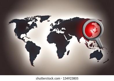 north korean map conflict alert news background illustration