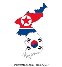 North Korean and South Korean map flag banner country border