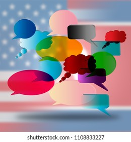 North Korean United States Speech Bubbles 3d Illustration. Cooperation And Talks To Build Rapport With US Against Nukes