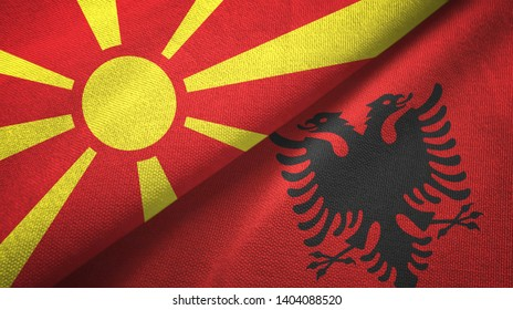 North Macedonia and Albania two flags textile cloth, fabric texture