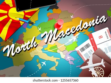 North Macedonia travel concept map background with planes, tickets. Visit North Macedonia travel and tourism destination concept. Macedonian flag on map. Planes and flights to Skopje,Ohrid