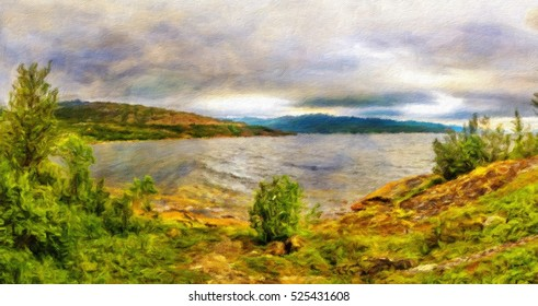North Norway nature. Rocky ground, green moss, low trees, beautiful fjords. Foggy cloudy weather. Oil painting effect.